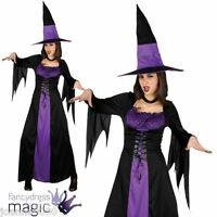 NEW LADIES PURPLE SPELLBOUND WICKED WITCH HALLOWEEN FANCY DRESS COSTUME WITH HAT