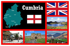 CUMBRIA, MAP, FLAG & SIGHTS - SOUVENIR FUN NOVELTY FRIDGE MAGNET - NEW / GIFT