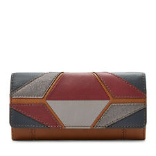 NEW FOSSIL MOLLY NEUTRAL MULTI COLOR,SADDLE,GRAY LEATHER FLAP WALLET,CLUTCH