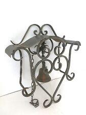 Campana campanello in ottone e ferro battuto da parete interno/esterno