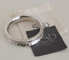 SSD SIMON SEBBAG Hammered Sterling Silver Chunky Bangle Bracelet Signed SSD .925