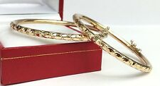 18k Solid Yellow Gold (Set Of Two) Kids Bangle 42mm, Diamond Cut 12.58 Grams