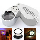 40*25mm Triplet Jewelers Pocket Eye Loupe UV+LED Light Glass Magnifier New