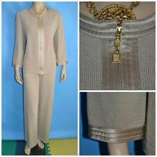 ST JOHN Collection Knit Beige XL L 12 14 Jacket Pants 2pc Suit Flat Front Satin