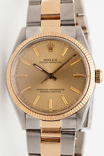 Estate $8000 18k Gold SS RARE Rolex Mens OYSTER Watch & BOX & WARRANTY