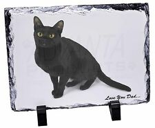 Black Cat 'Love You Dad' Photo Slate Christmas Gift Ornament, DAD-156SL