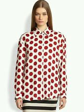 $535 NWOT BURBERRY PRORSUM Red Polka Dot Blouse Shirt Tunic Top Sz 46 Mn M Wmn L