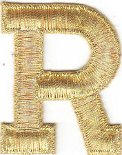 "LETTERS-GOLD METALLIC 1 3/4"" LETTER ""R"" - Iron On Embroidered Applique"