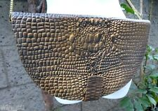 """CROCODILE Tooled Leather~LARGE CLUTCH~14x8.5""""~Chain Shoulder bag cross-body~NEW"""