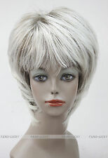 Excellent Light Gray Mixed Short Straight Women Ladies Daily wig FYTLD060