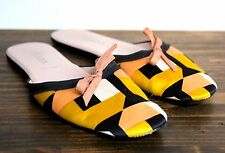PRADA MULTI COLOR SILK BLACK LEATHER SOLE SLIDE SLIPPERS HOME SHOES SIZE 36 6