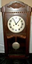 Antique German MAUTHE Carved Wood Regulator Wall Clock Nice Working Condition