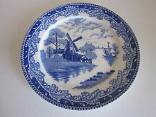 "Vintage Windmill dinner plate Japan 9"" Blue and white more available"