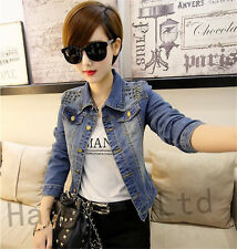 Womens Punk Biker Rivets Studded POLO Collar Denim Jean Jacket Coat Outwears