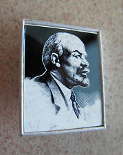 Russian Soviet Political Communist Mirror Pin Blue LENIN В И Ленин