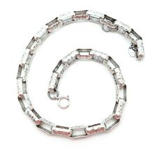 """CATHERINE POPESCO Large Oval Hammered Link Silver Plated Necklace 17 - 18"""""""