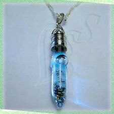 Personalized Name on Rice in Sword Vial Pendant w/ Silver Plated Chain Necklace