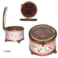 RARE BOITE COFFRET VITRINE A BIJOUX VERRE BISEAUTE INTERIEUR MATELASSEE 1860