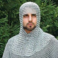 Butted Aluminium Chain Mail Coif, Chainmail Hood + Free Padded Cotton Cap