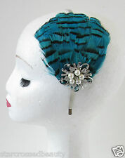 Teal Blue Feather Headpiece Headband Vtg 1920s Great Gatsby Flapper Silver O95