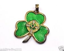 MAY THE ROAD IRISH BLESSING ENAMEL SHAMROCK CLOVER PENDANT STERLING PD 1157