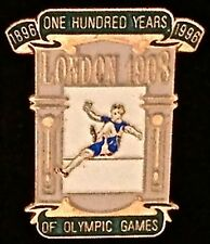 Pin Badge~London 1908-One Hundred Years of Olympic Games~1896-1996...Atlanta