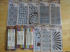HUGE Tim Holtz Lot 16 ink Pads 15 markers 8 stencils 9 stamp sets 22 Idea-ology