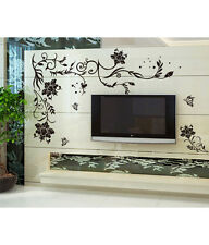 Wall Stickers Living Room Black Large Size Floral Vine Butterflies TV Background