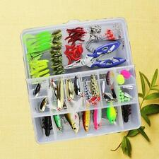 101Pcs Plastic Fishing Lures Set With Big 2Layer Box Bass JIG Hook Soft Bait FT