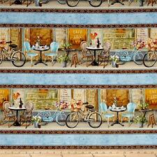 "STREET cafe ""in tessuto Fat Quarter Cotton Craft Quilting-striscia di frontiera-PARIGI"