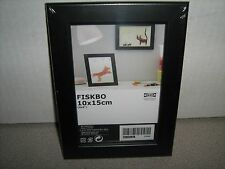"Lot of 2 Ikea FISKBO 4"" x 6"" Wood Picture Document Frame Black"