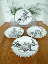 New 222 Fifth Halloween WICCAN LACE Set of 4 Plates Black Cat Witch Gothic