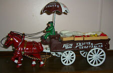 1940's Cast Iron Metal Toy Horse Drawn Fruits and Vegetables Wagon Umbrella