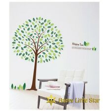 Grandi HAPPY GREEN Tree / FOGLIA Vivaio / BABY / Kid's Muro Adesivo Decalcomania