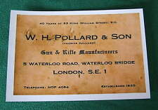W H Pollard & son Gunmakers Gun Maker Gun Case Label unrestored repo