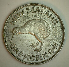 1941 Silver New Zealand 1 Florin 2 Shilling Coin AU
