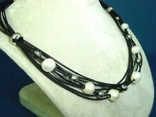 black leather necklace with 8 strings, 6 white pearls, s.steel balls+lock 1448