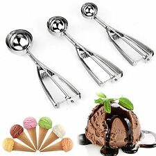 3pcs Ice Cream Spoon Stainless Steel Spring Handle Masher Cookie Scoop OJ