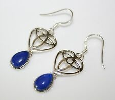 HANDCRAFTED STERLING SILVER ART NOUVEAU STYLE CABOCHON LAPIZ GEMSTONE EARRING