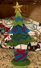 "METAL Glitter CHRISTMAS TREE PINK TURQUOISE GREEN 12""  CANDY THEME Ornaments"