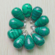 2016 Fashion malachite stone round water drop charms pendants 50pcs wholesale