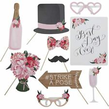Boho Wedding Photo Booth Props Signs Vintage Rustic Theme Party Selfie Kit