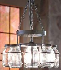 Rustic Primitive Country Wrought Iron Mason Canning Jar Chandelier Lamp NEW