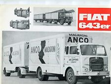 Sales leaflets /specifications.(2) , Fiat model 643n and 643er trucks. c.1966