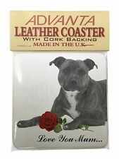 Staffie (B+W) Rose 'Love You Mum' Single Leather Photo Coaster A, AD-SBT6R2lymSC
