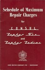 Ford Consul Zephyr Zodiac Mk1 1957 UK Market Schedule Of Repair Charges