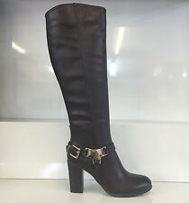 LADIES WOMENS BROWN KNEE HIGH LEATHER STYLE HIGH HEEL BOOTS SHOES SIZE 8