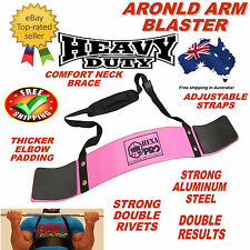 PINK ARNOLD WEIGHT LIFTING BODYBUILDING BICEP ARM BLASTER EZ BAR CURL ARMS