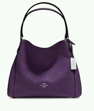 NEW COACH 36464 EDIE 31 SHOULDER BAG LEATHER Pebble HANDBAG Aubergine purple