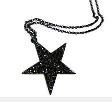 "A LOVELY BIG STAR THEMED LONG BLACK CHAIN NECKLACE. GOTH. 26"" LONG. NEW."